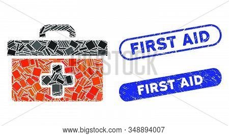 Mosaic First Aid Toolbox And Rubber Stamp Seals With First Aid Phrase. Mosaic Vector First Aid Toolb