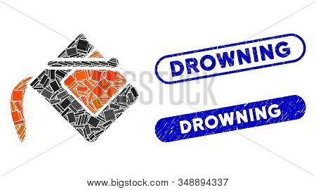 Mosaic Flood Fill And Rubber Stamp Seals With Drowning Text. Mosaic Vector Flood Fill Is Formed With