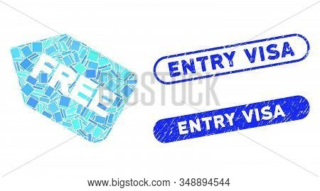Mosaic Free Sticker And Corroded Stamp Seals With Entry Visa Caption. Mosaic Vector Free Sticker Is