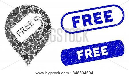 Collage Free Tag Marker And Corroded Stamp Seals With Free Text. Mosaic Vector Free Tag Marker Is Co