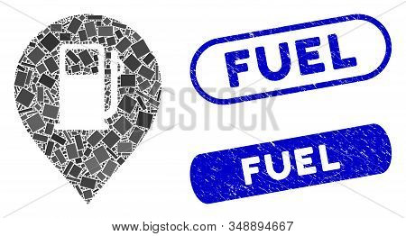 Mosaic Fuel Station Marker And Distressed Stamp Watermarks With Fuel Text. Mosaic Vector Fuel Statio