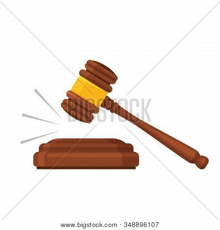 Gavel Law. Auction Mallet. Court, Justice, Legal Symbol. Wooden Hammer. Vector