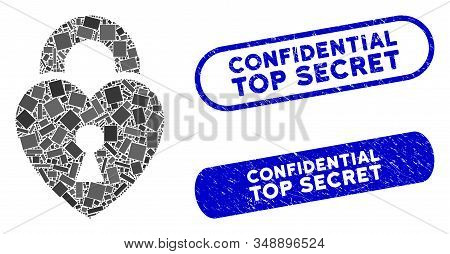 Mosaic Heart Lock And Rubber Stamp Seals With Confidential Top Secret Text. Mosaic Vector Heart Lock
