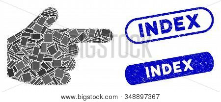 Collage Index Finger And Rubber Stamp Seals With Index Phrase. Mosaic Vector Index Finger Is Created