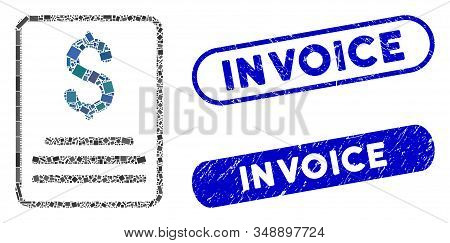 Mosaic Invoice Budget And Rubber Stamp Seals With Invoice Caption. Mosaic Vector Invoice Budget Is F