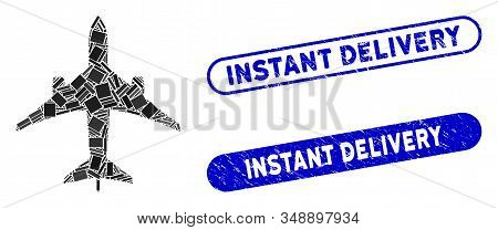 Collage Jet Plane And Rubber Stamp Seals With Instant Delivery Caption. Mosaic Vector Jet Plane Is F
