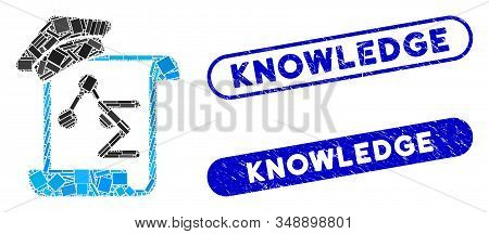 Mosaic Knowledge Manuscript And Rubber Stamp Seals With Knowledge Caption. Mosaic Vector Knowledge M