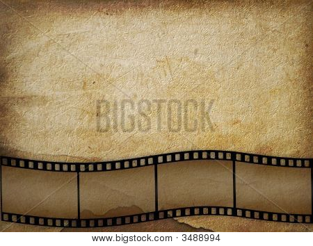 Old paper in grunge style with filmstrip poster