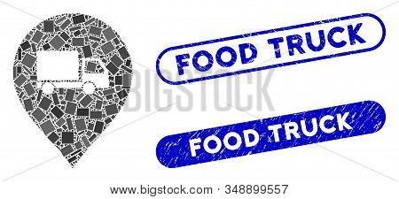 Mosaic Lorry Marker And Corroded Stamp Seals With Food Truck Caption. Mosaic Vector Lorry Marker Is