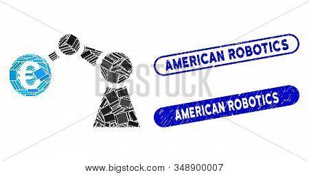 Mosaic Manipulator And Distressed Stamp Seals With American Robotics Text. Mosaic Vector Manipulator