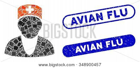 Mosaic Medic And Grunge Stamp Seals With Avian Flu Caption. Mosaic Vector Medic Is Formed With Rando