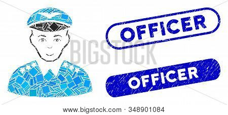 Mosaic Military Pilot Officer And Corroded Stamp Seals With Officer Caption. Mosaic Vector Military