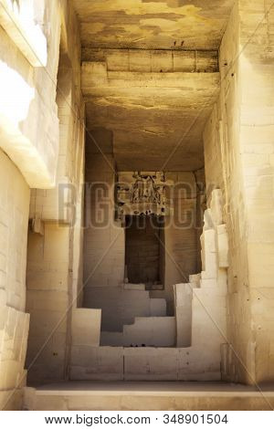 Vertical Picture Of Outdoor Part Of Famous Museum Quarries Of Light Or Carrieres De Lumiere In Frenc