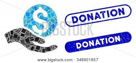 Mosaic Money Donation And Rubber Stamp Seals With Donation Caption. Mosaic Vector Money Donation Is