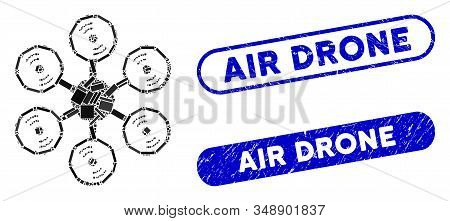 Mosaic Multirotor And Distressed Stamp Watermarks With Air Drone Phrase. Mosaic Vector Multirotor Is