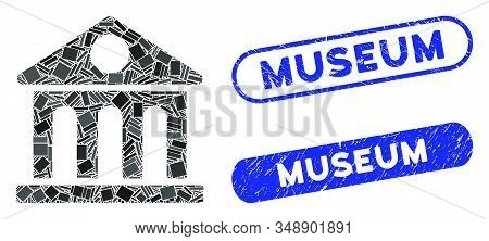 Mosaic Museum Building And Distressed Stamp Watermarks With Museum Phrase. Mosaic Vector Museum Buil