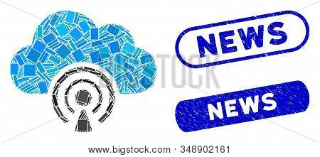 Collage News And Rubber Stamp Seals With News Text. Mosaic Vector News Is Formed With Random Rectang
