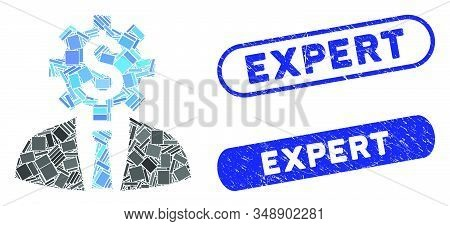 Mosaic Office Worker And Distressed Stamp Seals With Expert Caption. Mosaic Vector Office Worker Is