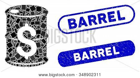 Collage Oil Barrel Price And Distressed Stamp Watermarks With Barrel Phrase. Mosaic Vector Oil Barre