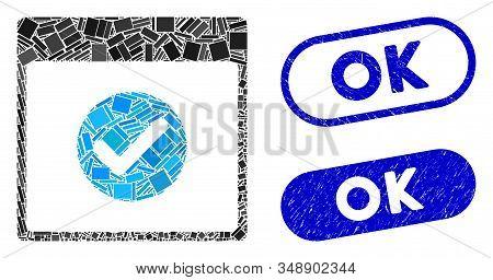 Mosaic Ok Calendar Day And Rubber Stamp Watermarks With Ok Text. Mosaic Vector Ok Calendar Day Is De