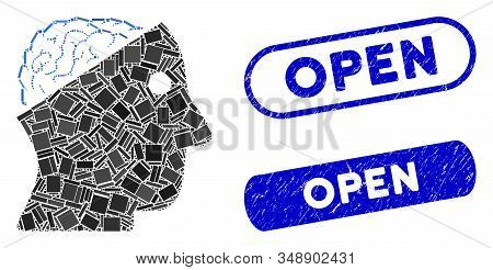 Collage Open Brain And Distressed Stamp Seals With Open Caption. Mosaic Vector Open Brain Is Designe