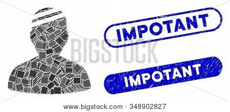 Mosaic Patient And Distressed Stamp Watermarks With Impotant Caption. Mosaic Vector Patient Is Desig