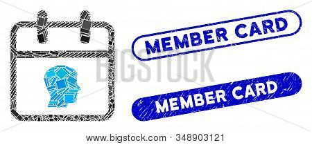 Mosaic Personal Day And Rubber Stamp Seals With Member Card Phrase. Mosaic Vector Personal Day Is Cr