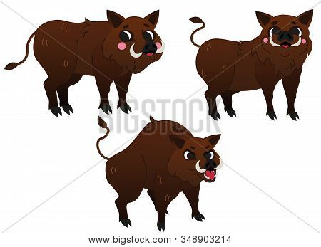 Cute Cartoon Wild Boars Vector Set. Hogs In Different Postures. Happy And Angry Boar. Forest Animals