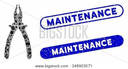 Mosaic Pliers And Corroded Stamp Watermarks With Maintenance Text. Mosaic Vector Pliers Is Formed Wi