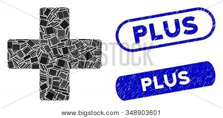 Mosaic Plus And Grunge Stamp Seals With Plus Caption. Mosaic Vector Plus Is Composed With Random Rec