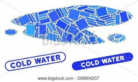 Mosaic Puddle And Corroded Stamp Watermarks With Cold Water Text. Mosaic Vector Puddle Is Created Wi
