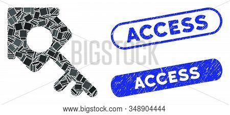 Mosaic Realty Access And Rubber Stamp Seals With Access Text. Mosaic Vector Realty Access Is Created