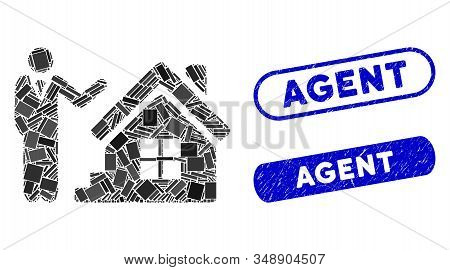Mosaic Realty Agent And Corroded Stamp Seals With Agent Text. Mosaic Vector Realty Agent Is Composed