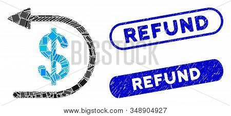Mosaic Refund And Rubber Stamp Seals With Refund Caption. Mosaic Vector Refund Is Created With Rando