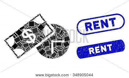 Mosaic Rent Time And Grunge Stamp Seals With Rent Text. Mosaic Vector Rent Time Is Designed With Ran