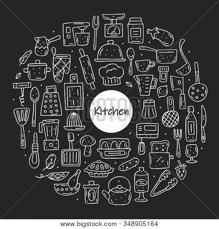 Kitchen Elements Cute Doodle Hand Drawn Vector Clipart, Set Of Elements, Icons, Stickers. Chalk Desi
