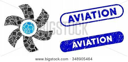 Mosaic Rotor And Rubber Stamp Seals With Aviation Caption. Mosaic Vector Rotor Is Created With Rando