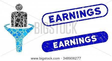 Mosaic Sales Funnel And Grunge Stamp Seals With Earnings Caption. Mosaic Vector Sales Funnel Is Form
