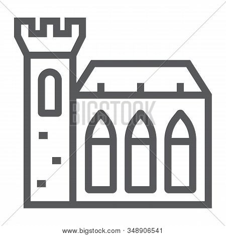 Dublin Castle Line Icon, St Patricks Day And Holiday, Ireland Castle Sign, Vector Graphics, A Linear