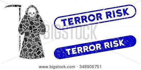 Collage Scytheman And Grunge Stamp Seals With Terror Risk Text. Mosaic Vector Scytheman Is Created W
