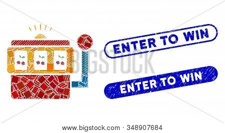 Mosaic Slot Machine And Distressed Stamp Watermarks With Enter To Win Text. Mosaic Vector Slot Machi