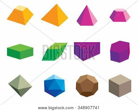 Set Of Volumetric Geometrical Colored Shapes, Polyhedron. Vector Illustration