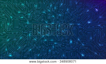 Abstract Futuristic Circuit Board. High Computer Technology Blue Color Background. Hi-tech Digital T