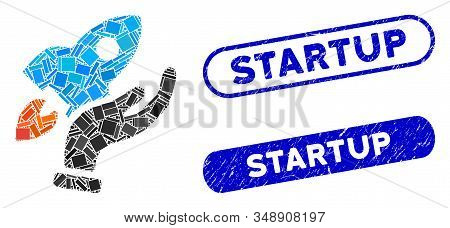 Mosaic Startup And Rubber Stamp Watermarks With Startup Phrase. Mosaic Vector Startup Is Composed Wi