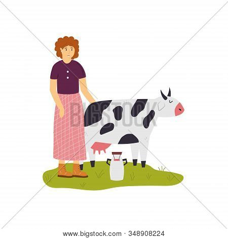 Scene With A Farmer Girl Taking Care Of Cow.