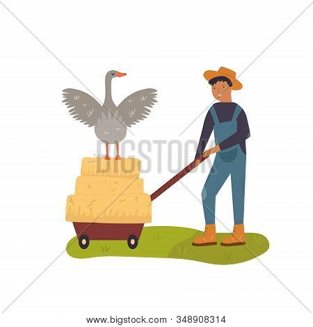 Scene With A Working Farmer And Goose