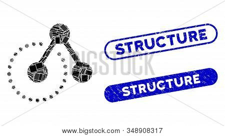 Mosaic Structure Analysis And Distressed Stamp Seals With Structure Caption. Mosaic Vector Structure