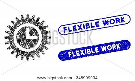 Mosaic Time Options And Grunge Stamp Seals With Flexible Work Caption. Mosaic Vector Time Options Is