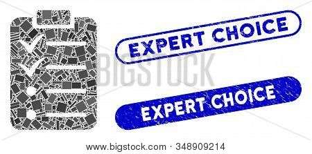 Mosaic Todo List And Grunge Stamp Seals With Expert Choice Caption. Mosaic Vector Todo List Is Forme
