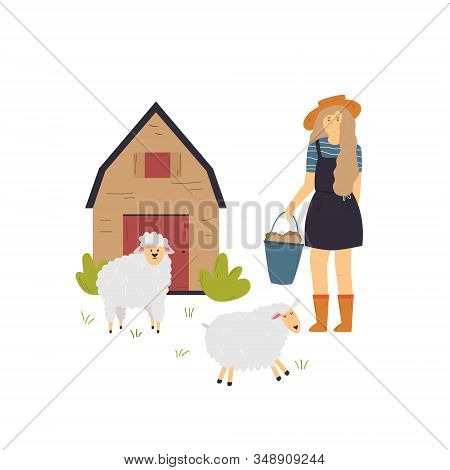 Scene With A Farmer Girl Taking Care Of Sheep.